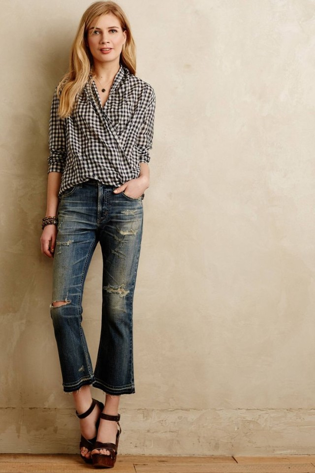 cropped-denim-flares-gingham-shirt-sandals-via-anthropologie.com