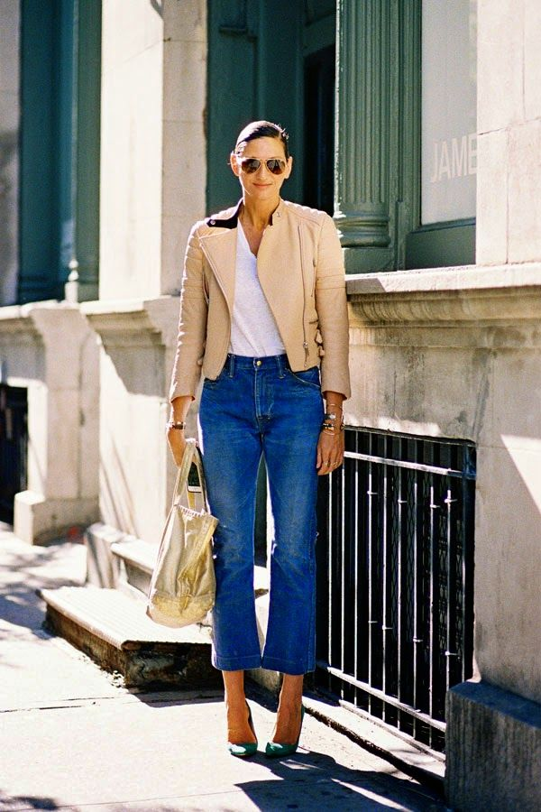 cropped-flares-denim-moto-jacket-pumps-gold-tote-jenna-lyons-via-vanessajackman.bblogspot.co.uk