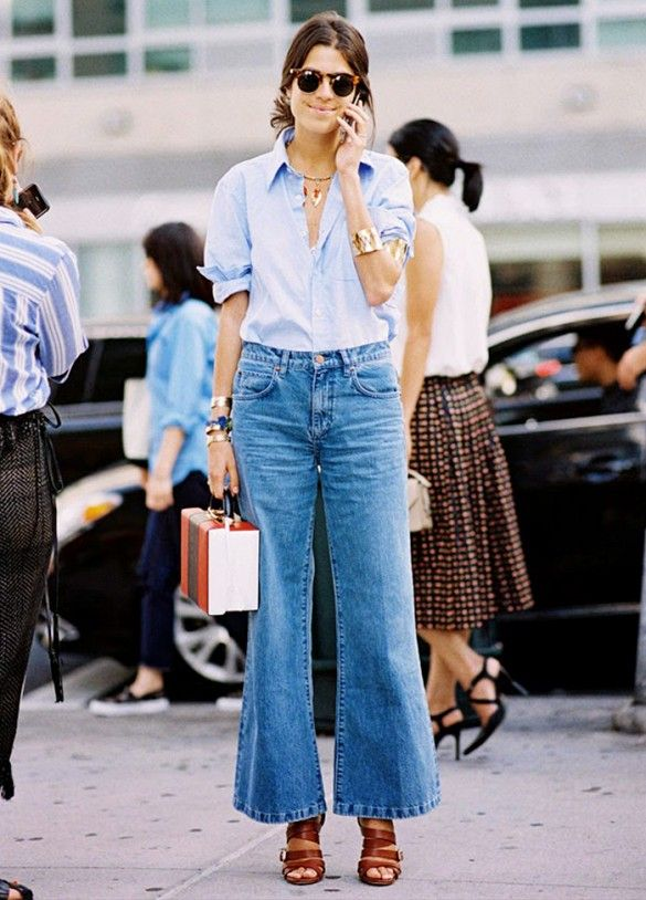 cropped-flares-oxford-cuff-accessories-sandals-summer-weekend-street-style-leandra-medine-via-www
