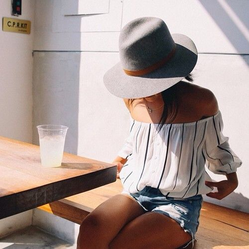 cutoffs-stripes-off-the-shoulder-shirt-hat-beach-lake-jetsetter-via-theyallhateus