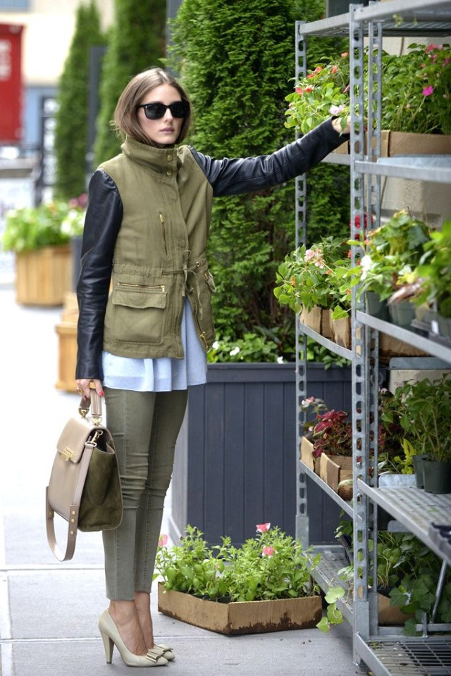 army green pants, army green jacket, mixed materials, pastel blue, heels, olivia palermo, spring, work, weekend, night out, going out