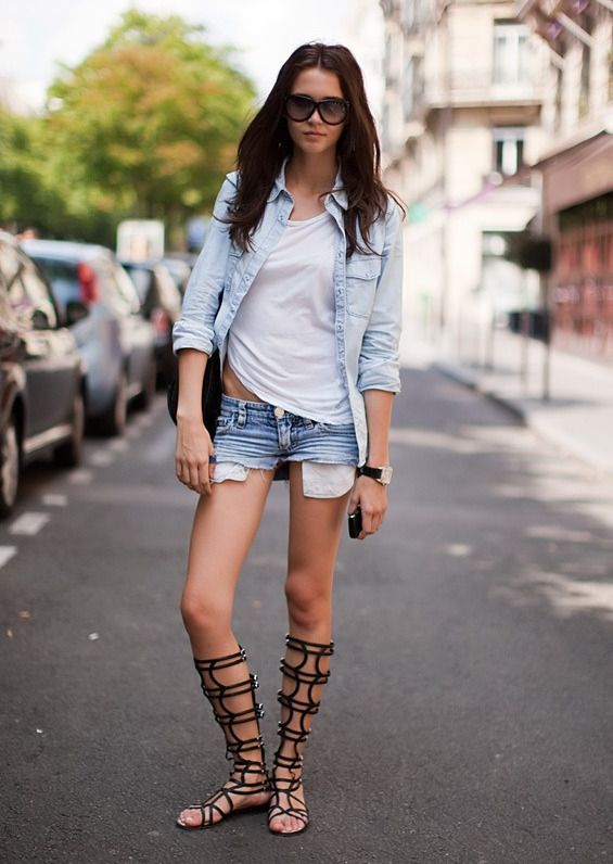 denim-cutoffs-chambray-shirt-weekend-casual-model-off-duty-style-tall-gladiator-sandals-via-shannoneileenblog.typead.com
