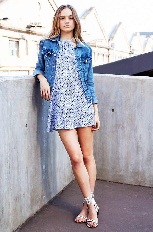 denim-jacket-poolka-dot-sundress-summer-gladiator-sandals-via-getty