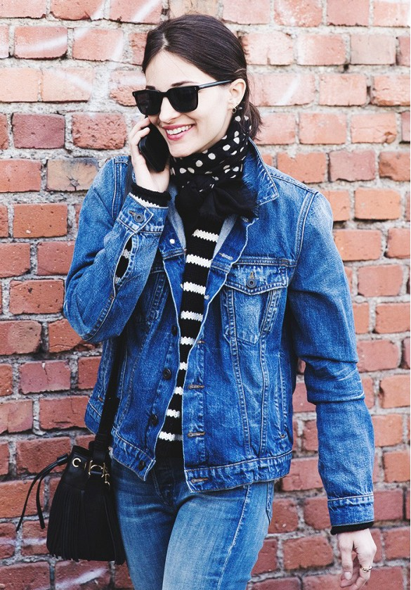 denim-jacket-striped-sweater-scarf-bucket-bag-maria-dueans-via-collage-vinage
