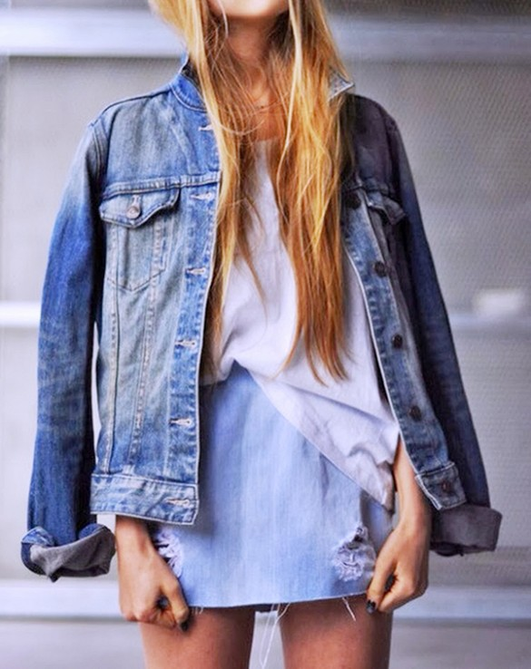 denim-jacket-denim mini skirt, double denim