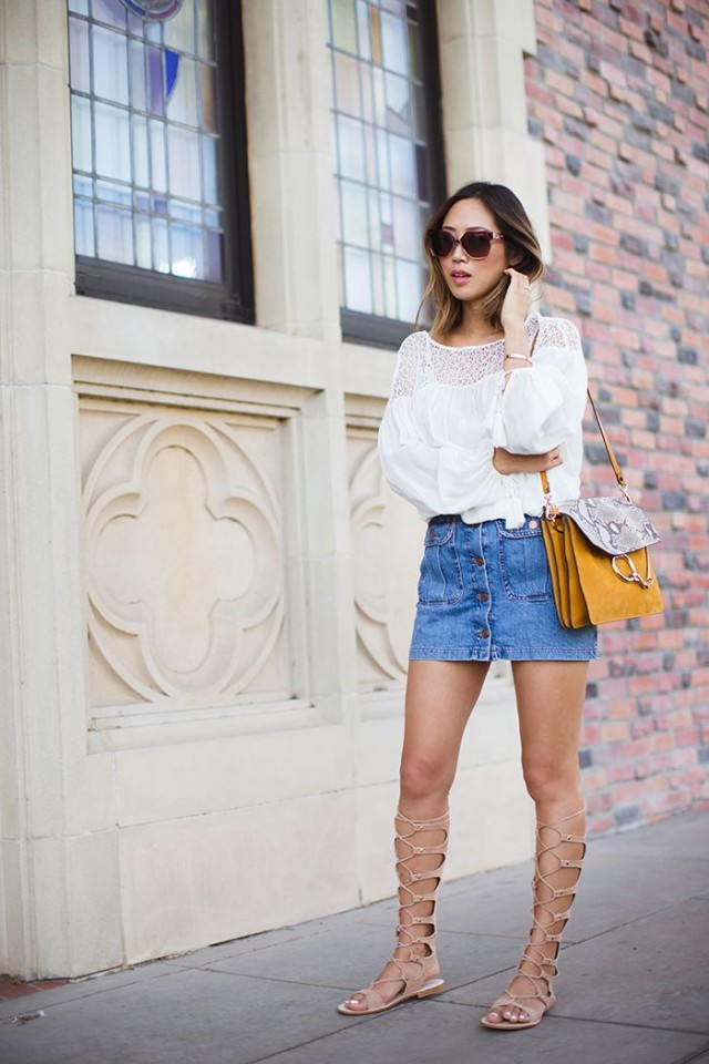 denim-mini-skirt-peasant-boho-white-blouse-crochet-tall-gladiator-sandals-via-songsofstyle.com