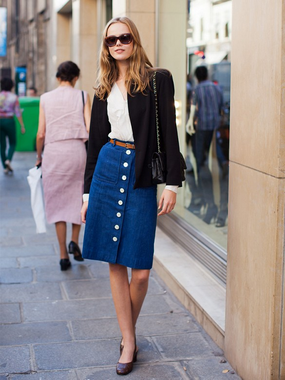 denim-skirt-knee-skirt-elt-black-jacket-white-oxford-flats-work-outftis-spring-outfits-via-stockholmstreetstyle