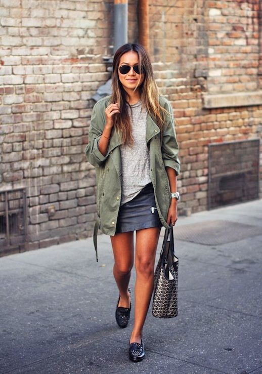 army green jacket, black mini skirt, grey tee, goyard, oxford flats, neutrals, spring, fall