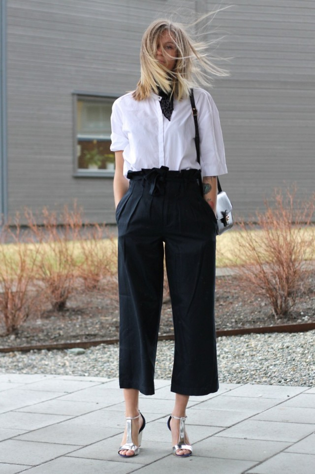 black and white, sandals, scarf, black culottes, white button up shirt, white oxford, work, spring outfits