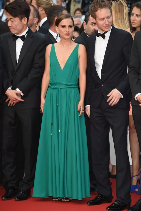 natalie portman, cannes, evening gown, black tie, special occasions, red carpet style