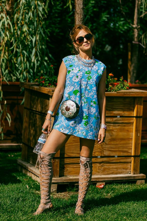 festival-fashion-printed-mini-dress-tall-gladiator-sandals-via-racked.com