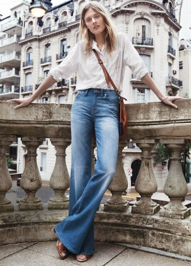 flared-jeans-white-oxford-button-up-sandals-work-weekend-spring-outfits-via-theyallhateus.com