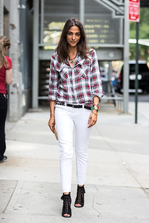 New York Fashionweek ss2014, day 5, plaid, white jeans, french style, peep toe booties