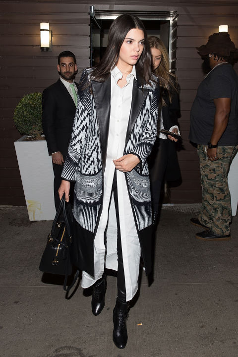kendall jenner, tribal print coat, black and white, long white button up, black boots, black skinnies