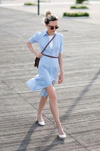 gingham-shirt-dress-spring-work-outfits-via-glamour.com