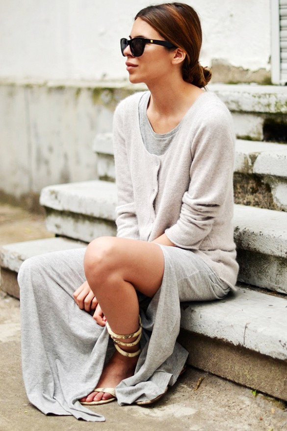 grey-maxi-dress-cardigan-summer-weekend-casual-sandal-via-maja wyh