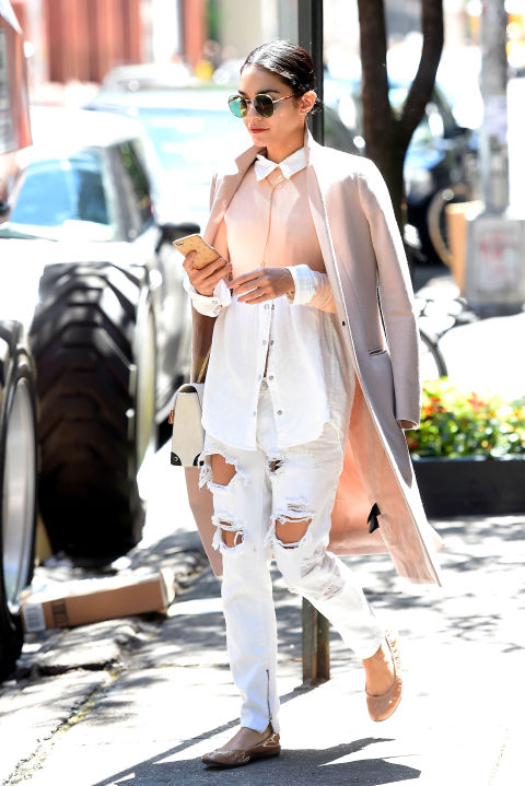 gty_vanessa_hudgens_150526, pink, distressed white boyfriend jeans, pastel coat, flats, polished