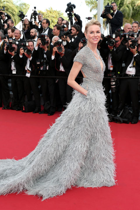 naomi-watts, cannes, red carpet, celeb style, evening gowns, black tie, cannes 2015, feathers