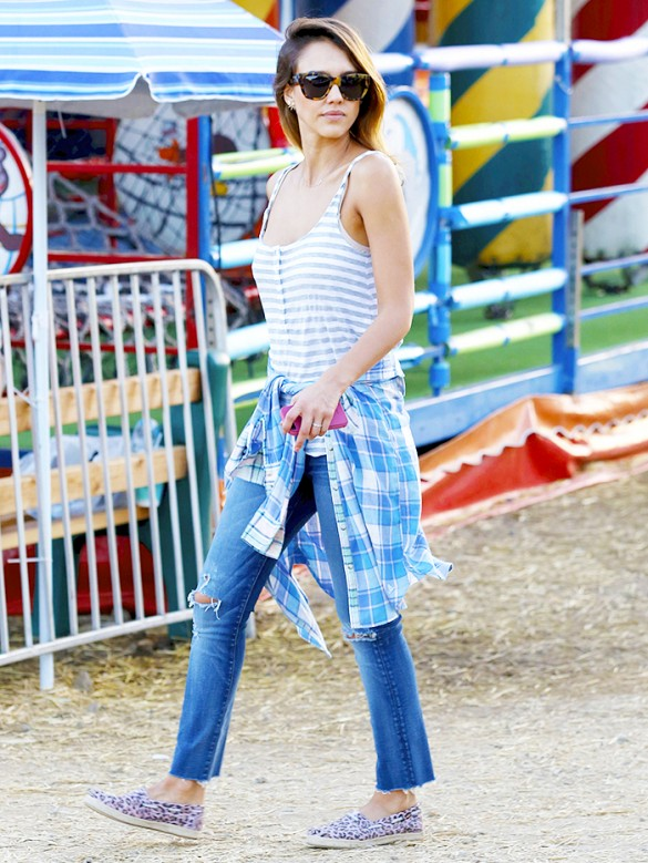 jessica-alba-carnival-lake-flannel-shirt-striped-tank-jeans-sneakers-via-www