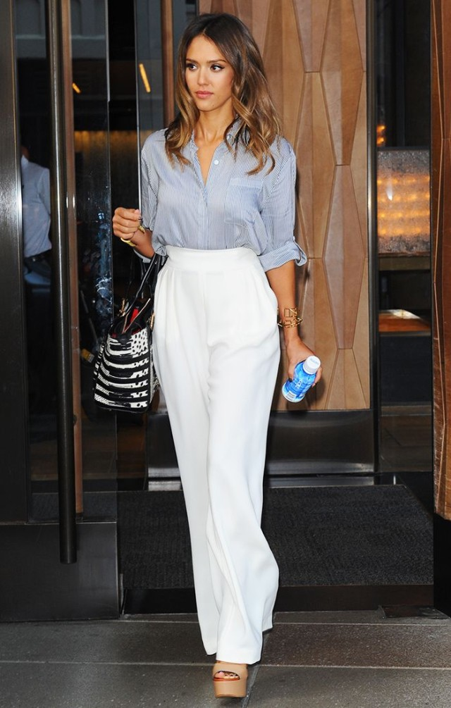 jessica-alba-white-pants-sandals-blue-and-white-striped-oxford-via-www