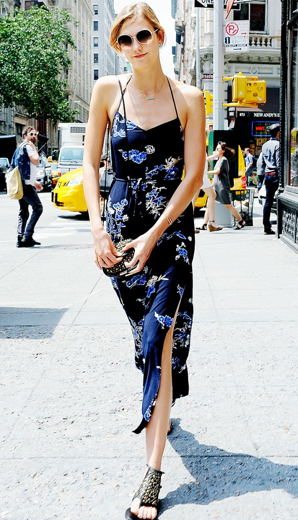karlie-kloss-floral-sundress-summer-wedding-party-sandals-via-www
