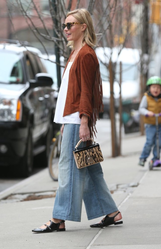 kate bosworth, fringe jacket, flare jeans