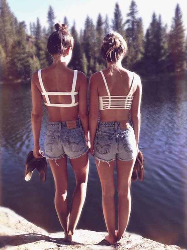 lake-cutoffs-via-etsy.com, cutoffs, twins, twinning, bikini tops, crop tops, sandals, cutouts, lake, camping, glamping