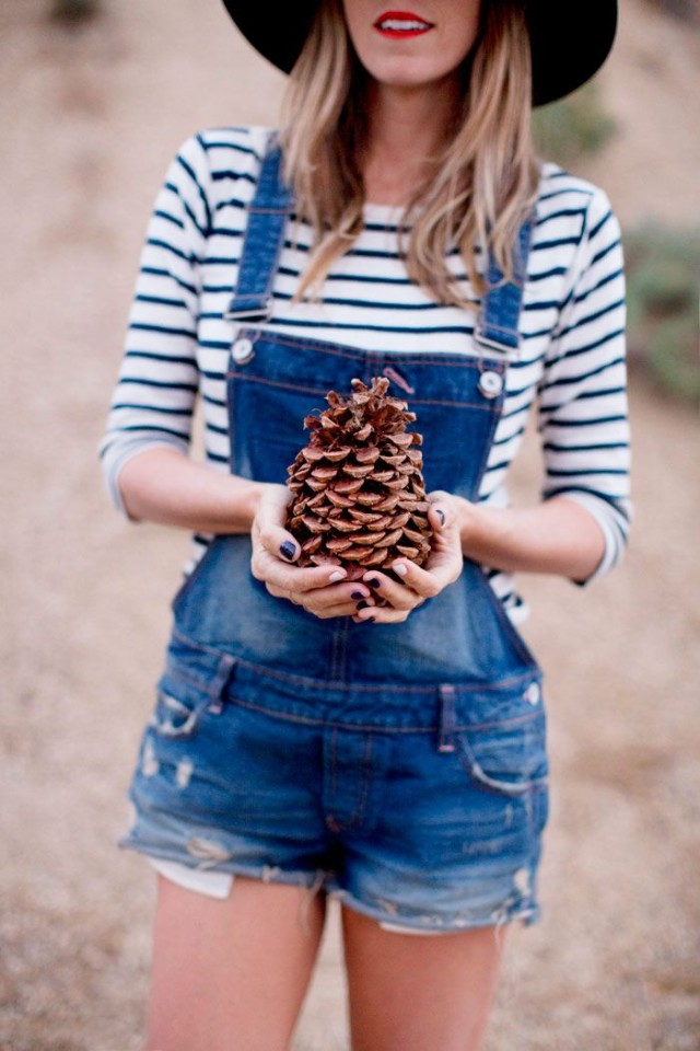 lake-shortalls-stripes-via-ahouseinthehills.com, strips, striped tee, hat, glamping, camping, denim, cutoffs, shortalls, overalls