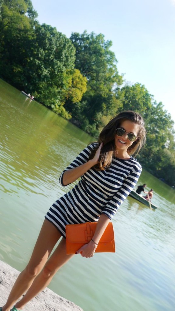 lake-stripes-via-thelonder.me, striped dress, stripes, navy and white, classic, preppy, going out night out, summer, lake, park