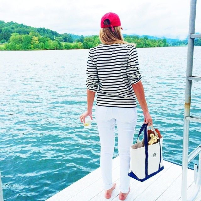 lake-white-jeans-striped-tee-shirt-boat-and-tote-preppy-classic-summer-beach-lake-via-soroyalty.tumblr.com-weekend