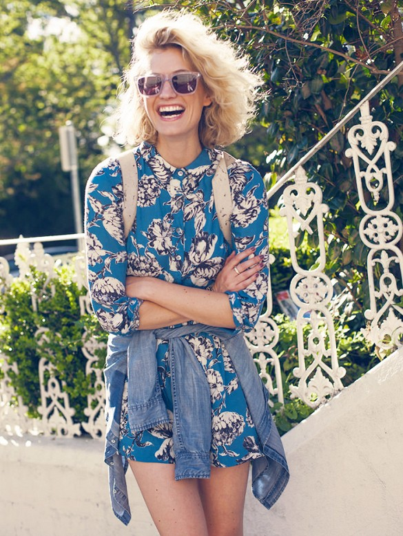 leaf-print-romper-denim-jacket-via-zanita--romper-sunglasses-