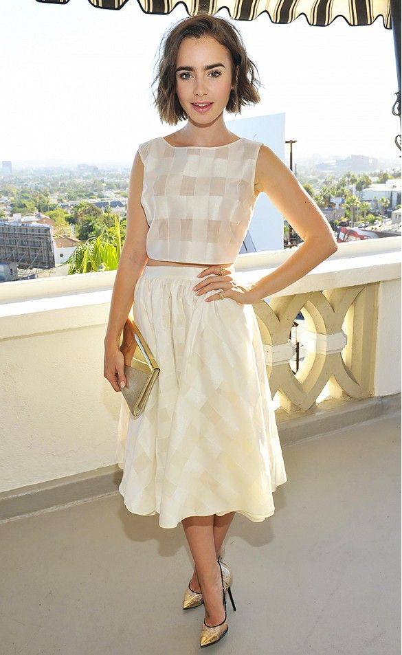 lily-collins-crop-top-matching-set-midi-skirt-gingham-via-www