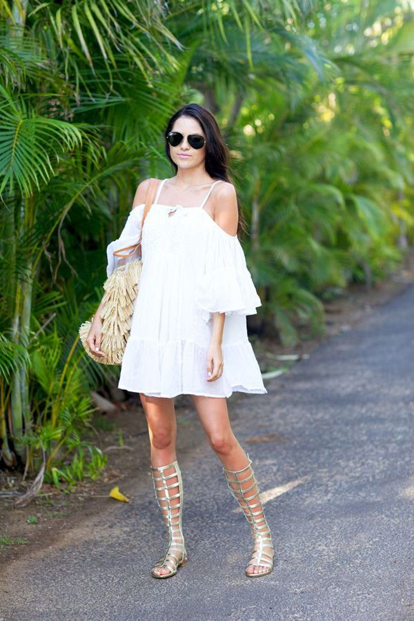 little-whie-dress-summer-sundress-summer-dress-off-the-shoulder-dress-boho-dress-tall-gladiator-sandals-via-shopdailychic.com
