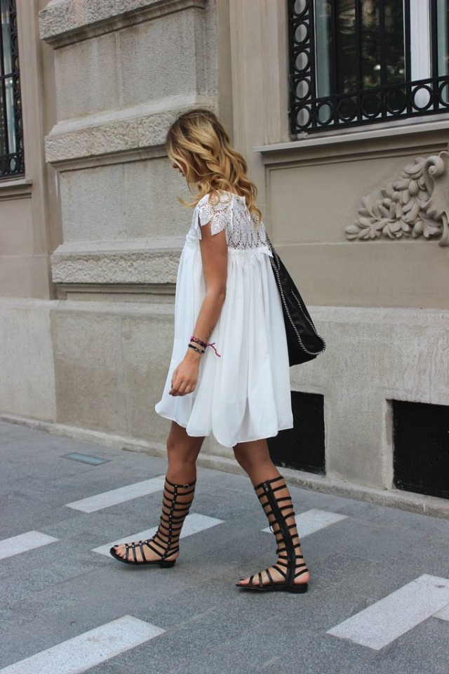 little-white-dress-summer-dress-black-and-white-going-out-night-out-tall-gladiator-sandals-via-zorannah.com