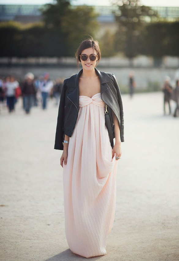 long-pink-strapless-pastel-blush-pink-maxi-dress-bridesmaid-dress-rewear-black-leather-moto-jacket-spring-summer-wedding-party-going-out-night-out-transitional-dress-remix-your-wardrobe-black-and-pink-via-delete me