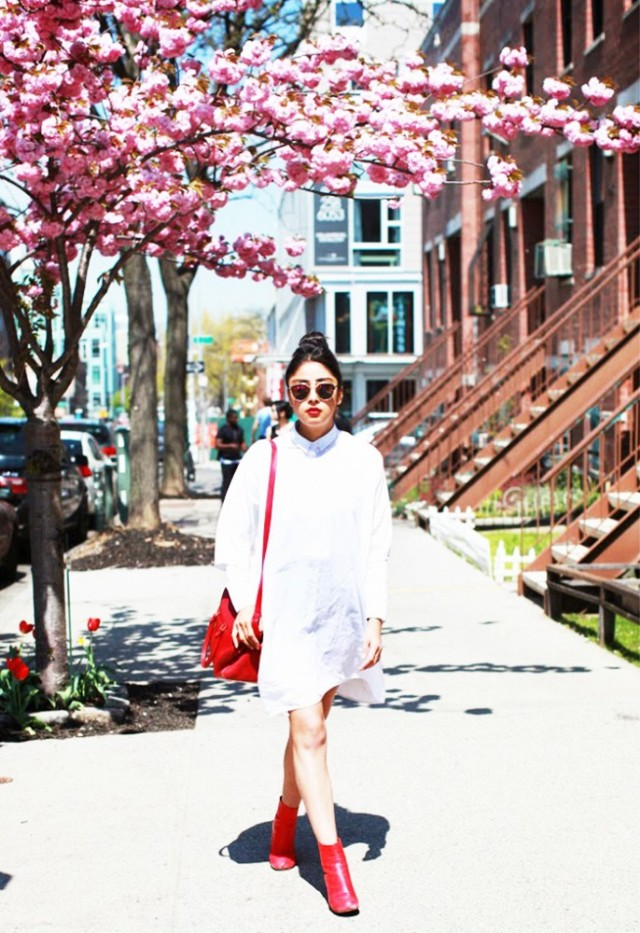 white, red booties, shirt dress, spring