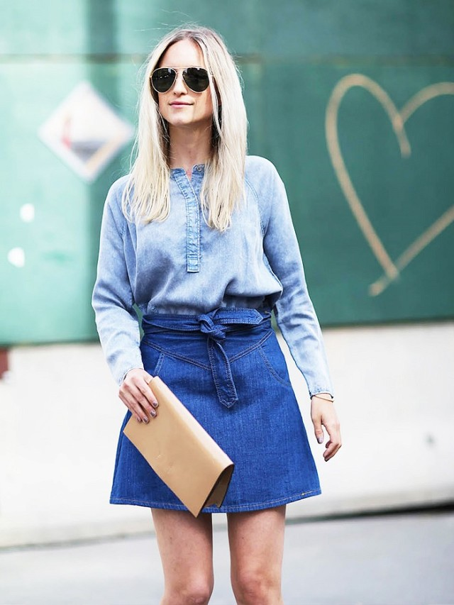 double denim belted skirt, jean skirt, denim mini skirt, chambray shirt, spring, summer, work, weekend, night out, party