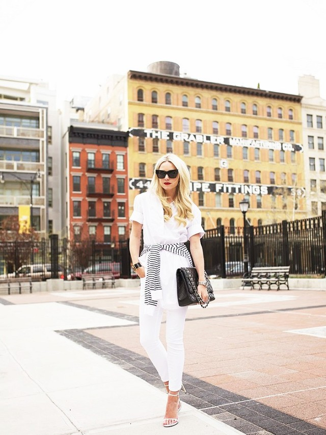 blair eadie, whtie jeans, all white, white shirt, stripes, sandals, going out, night out, summer, spring, jetsetter style, vaca style