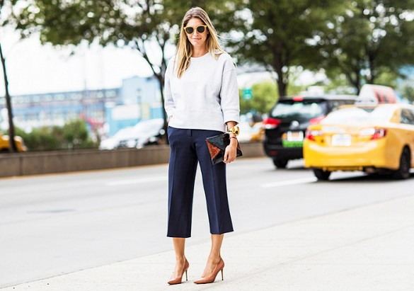 navy, culottes, sweatshirt, pumps, heels, editor style, work outfits,