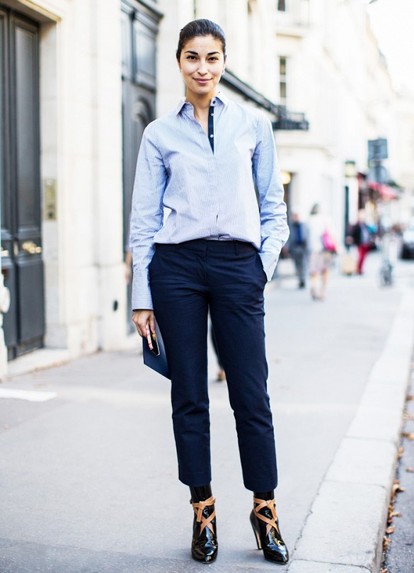 navy pants, caroline issa, collared shirt, menswear, tomboy, spring outfits, ankle booties, editor style