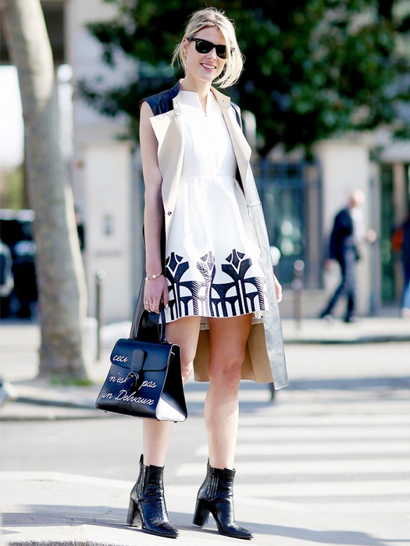 sleeveless vest, white and black, black and whtie, black booties, spring, summer
