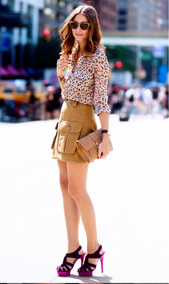 olivia palermo, cargo skirt, animal print blouse, sandals, night out, work, spring outfits, fall outfits