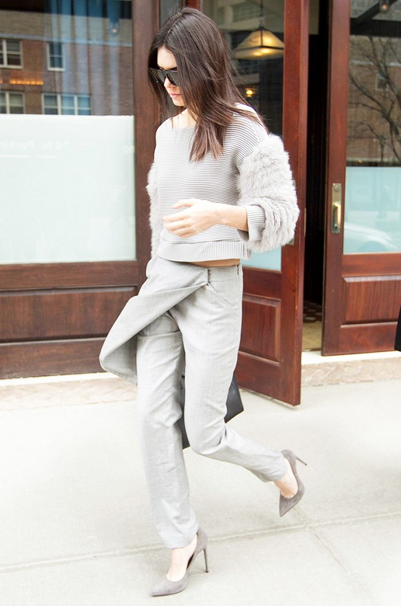 kendall jenner, monochromatic, grey, apron pants, crossover pants, crop top, furry sweatshirt, black pumps, work, spring outfits, going out, weekend, kendall jenner, model style