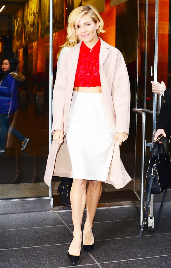 sienna miller, red crop top, blush coat, spring jackets, white pencil skirt midi skir,t black pumps, polished, spring, red and pink, work