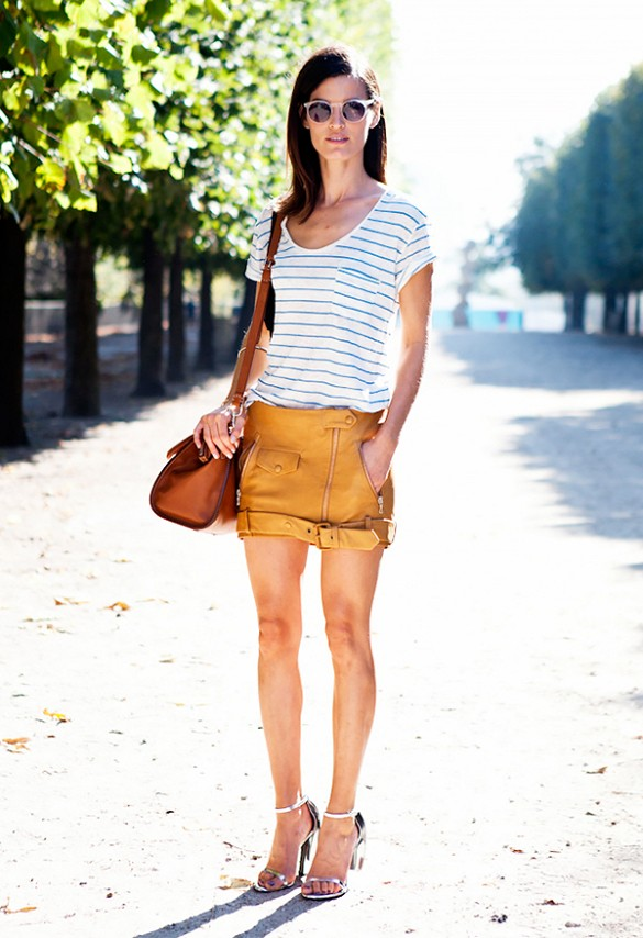 tan leather mini skirt, sandals, striped tee, summer, spring, sunglasses, hanneli mustparta, blogger style