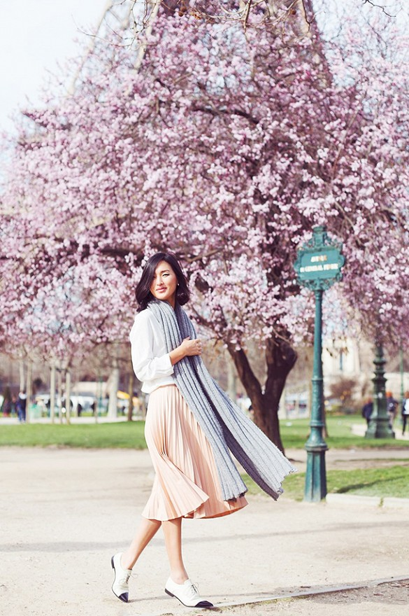 pink-blush-pleated-midi-skirt-scarf-whtie-blouse-oxfords-spring-outfit-work-via-garypeppergirl