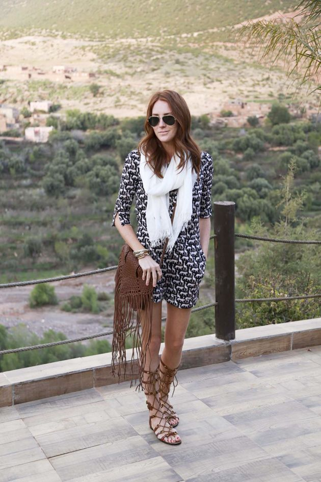 printed-romper-animal-graphics-fringe-purse-tall-gladiator-sandals-via-couldihavethat.com