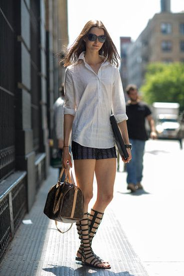 printed-shorts-white-oxford-tall-gladiator-sandals-via-fabsugar.com