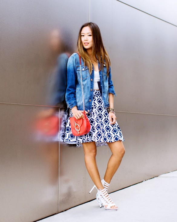 printed-skirt-white-cage-sandals-denim-jacket-via-song of style