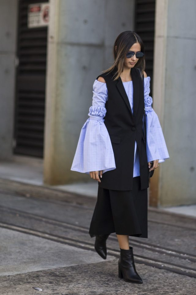 sleeveless vest-oversized sleeves-bell sleeves-ankle boots-black and blue-sky blue-midi skirt-spring work outfit-australia fashion week-ref